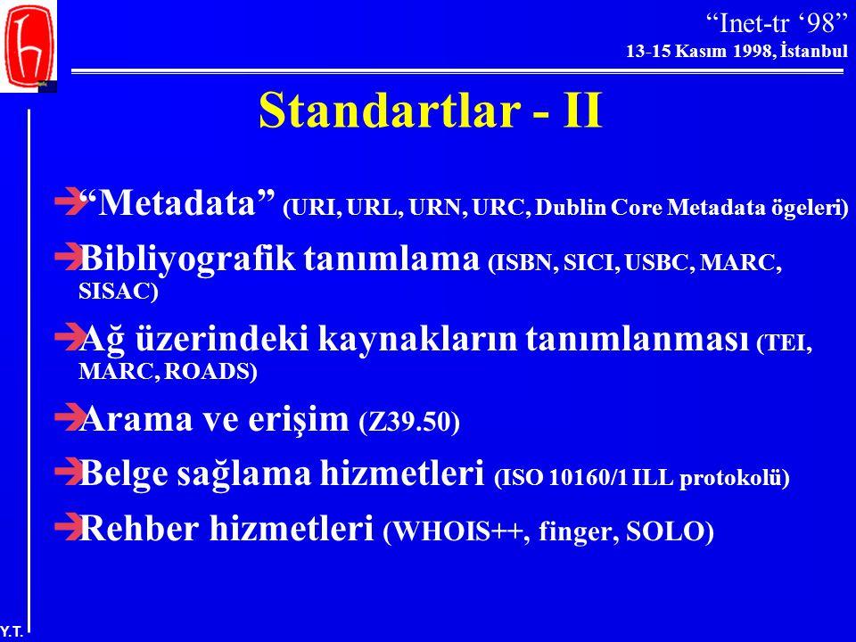 Standartlar - II Metadata (URI, URL, URN, URC, Dublin Core Metadata ögeleri) Bibliyografik tanımlama (ISBN, SICI, USBC, MARC, SISAC)