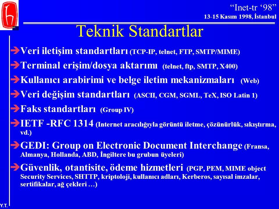 Teknik Standartlar Veri iletişim standartları (TCP-IP, telnet, FTP, SMTP/MIME) Terminal erişim/dosya aktarımı (telnet, ftp, SMTP, X400)