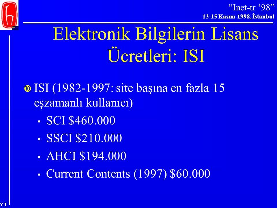 Elektronik Bilgilerin Lisans Ücretleri: ISI