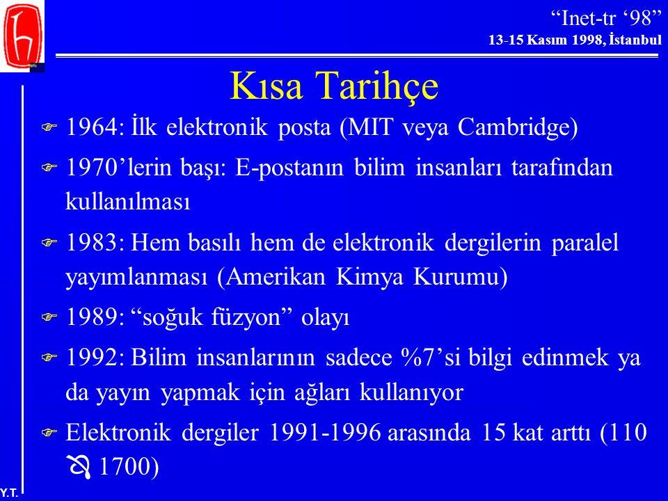 Kısa Tarihçe 1964: İlk elektronik posta (MIT veya Cambridge)