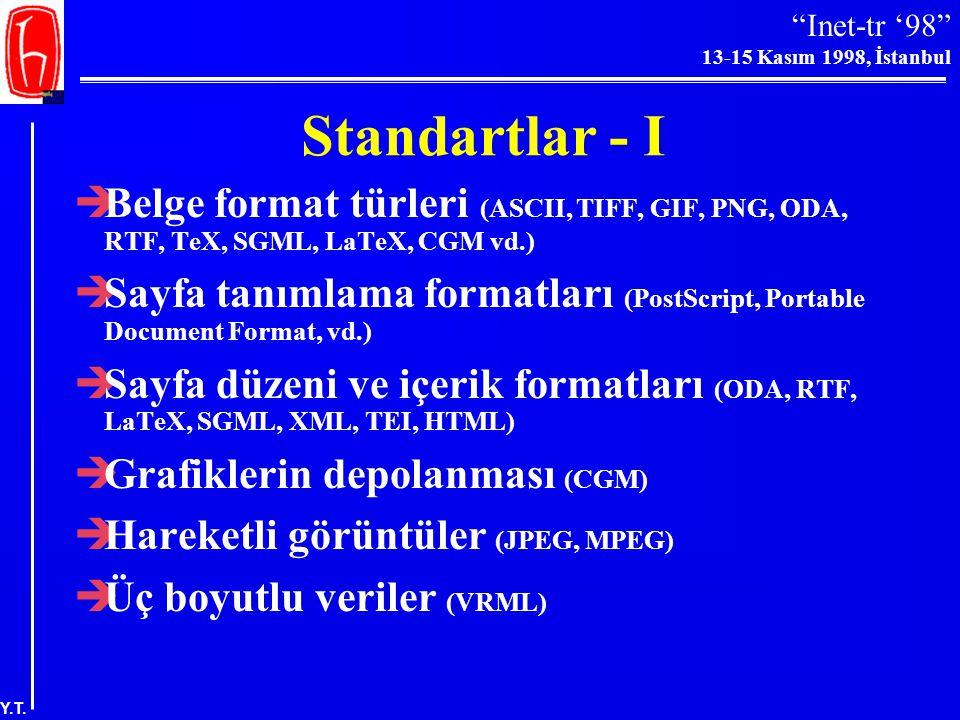 Standartlar - I Belge format türleri (ASCII, TIFF, GIF, PNG, ODA, RTF, TeX, SGML, LaTeX, CGM vd.)