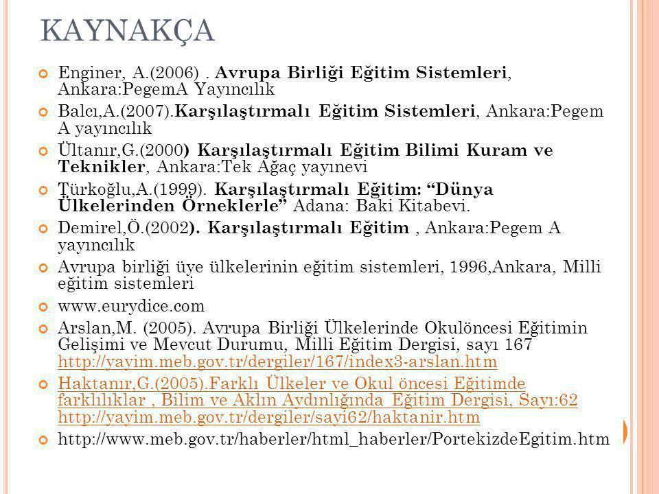 kaynakça Enginer, A.(2006) . Avrupa Birliği Eğitim Sistemleri, Ankara:PegemA Yayıncılık.