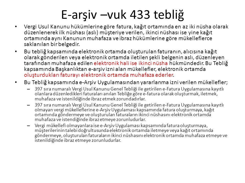 E-arşiv –vuk 433 tebliğ