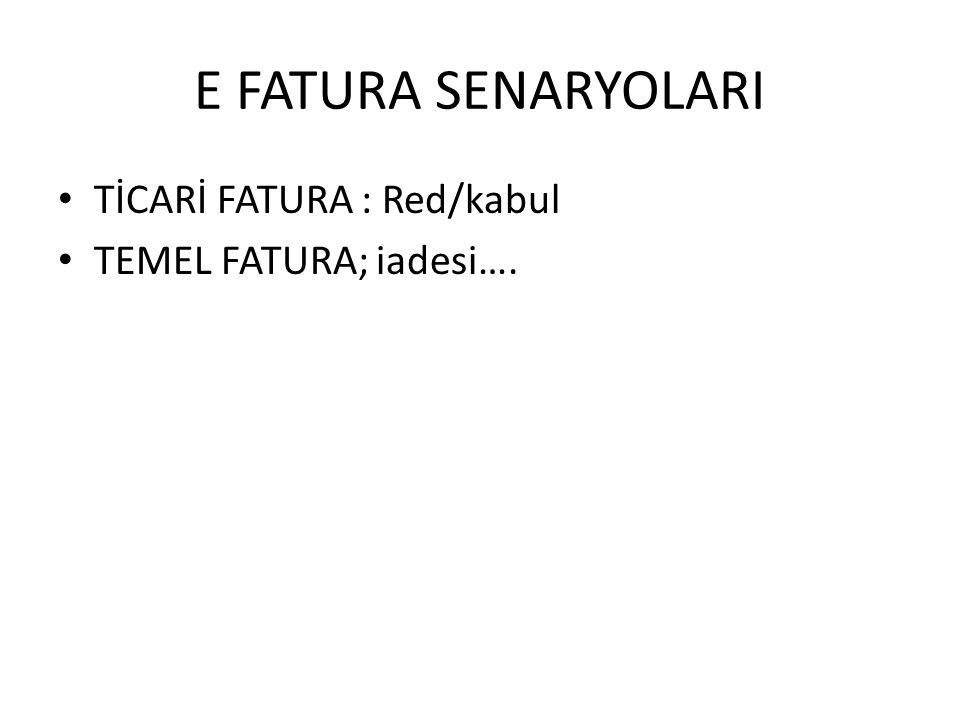 E FATURA SENARYOLARI TİCARİ FATURA : Red/kabul TEMEL FATURA; iadesi….