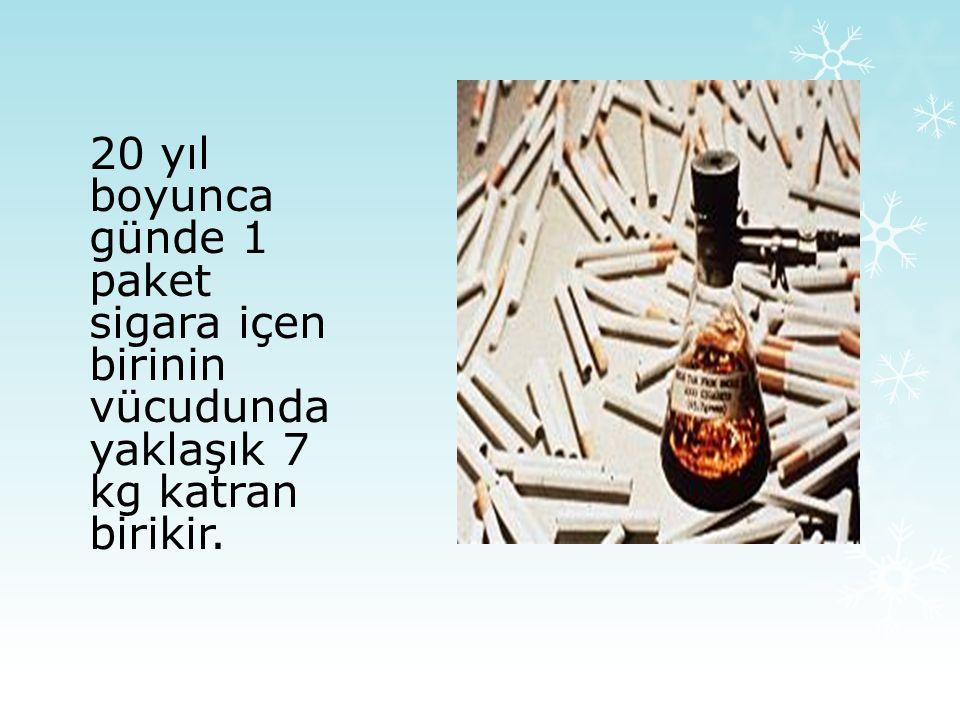 20 yıl boyunca günde 1 paket sigara içen birinin vücudunda yaklaşık 7 kg katran birikir.