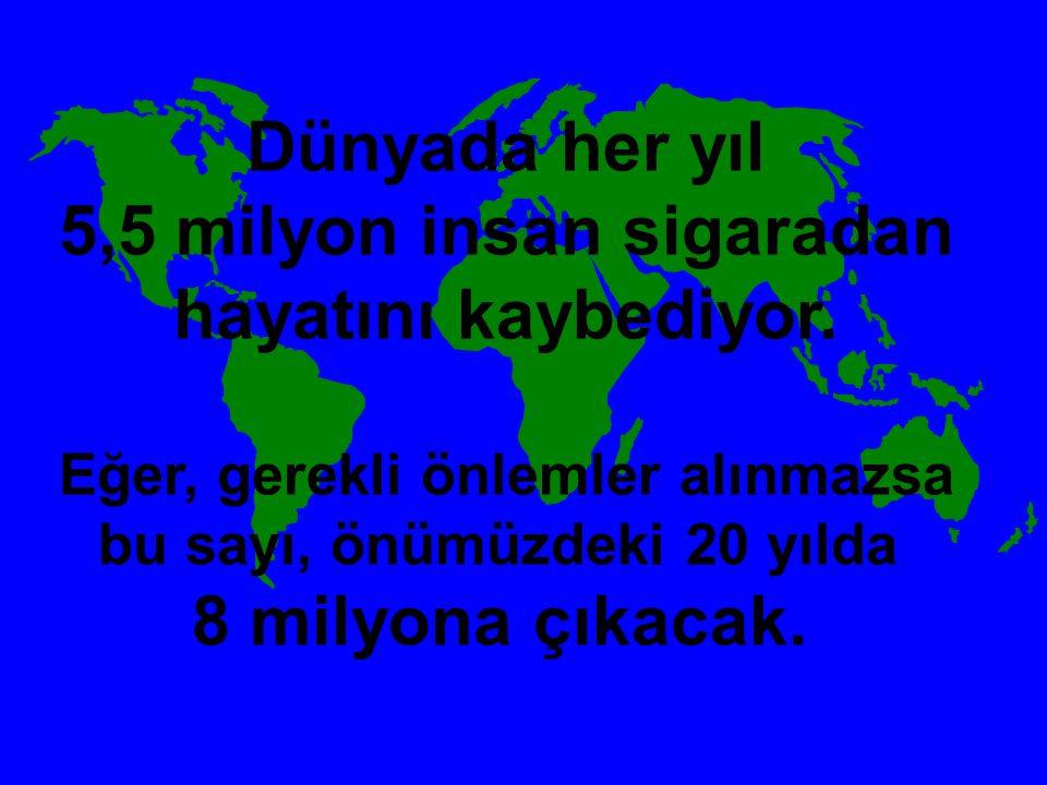 5,5 milyon insan sigaradan hayatını kaybediyor.