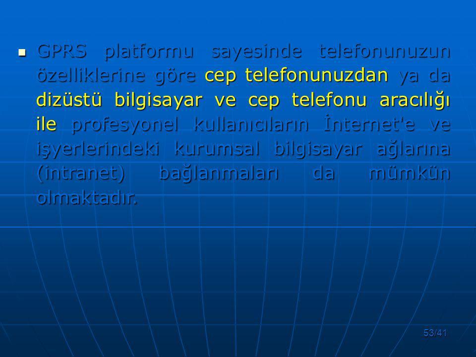 GPRS platformu sayesinde telefonunuzun özelliklerine göre cep telefonunuzdan ya da dizüstü bilgisayar ve cep telefonu aracılığı ile profesyonel kullanıcıların İnternet e ve işyerlerindeki kurumsal bilgisayar ağlarına (intranet) bağlanmaları da mümkün olmaktadır.