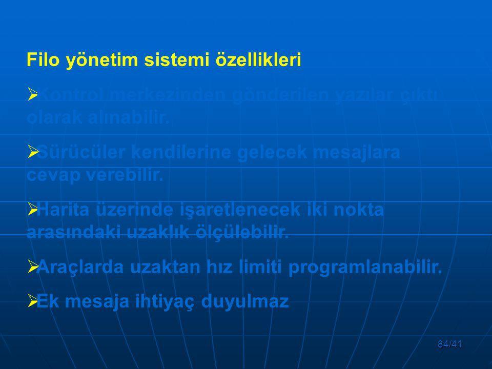 Filo yönetim sistemi özellikleri