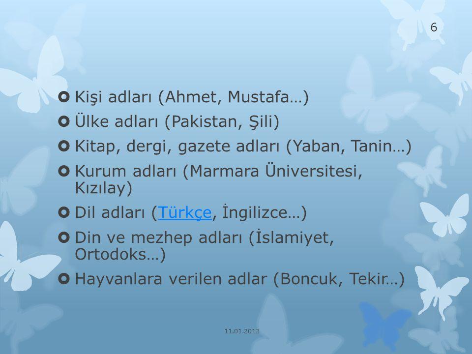 Kişi adları (Ahmet, Mustafa…) Ülke adları (Pakistan, Şili)