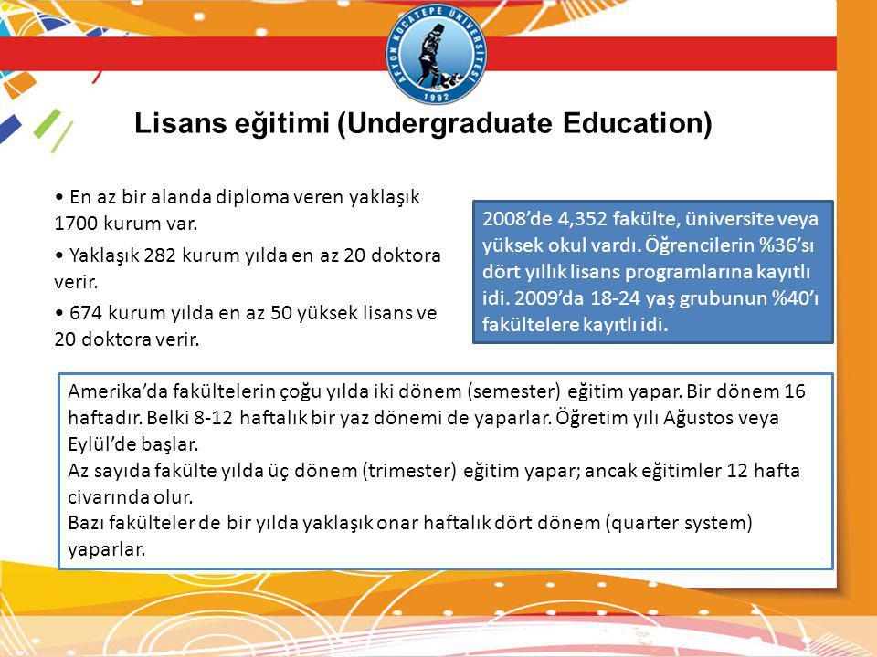 Lisans eğitimi (Undergraduate Education)