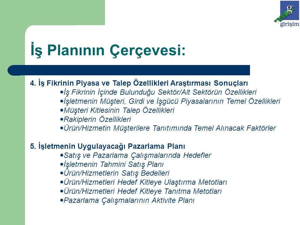 İş Planının Çerçevesi: