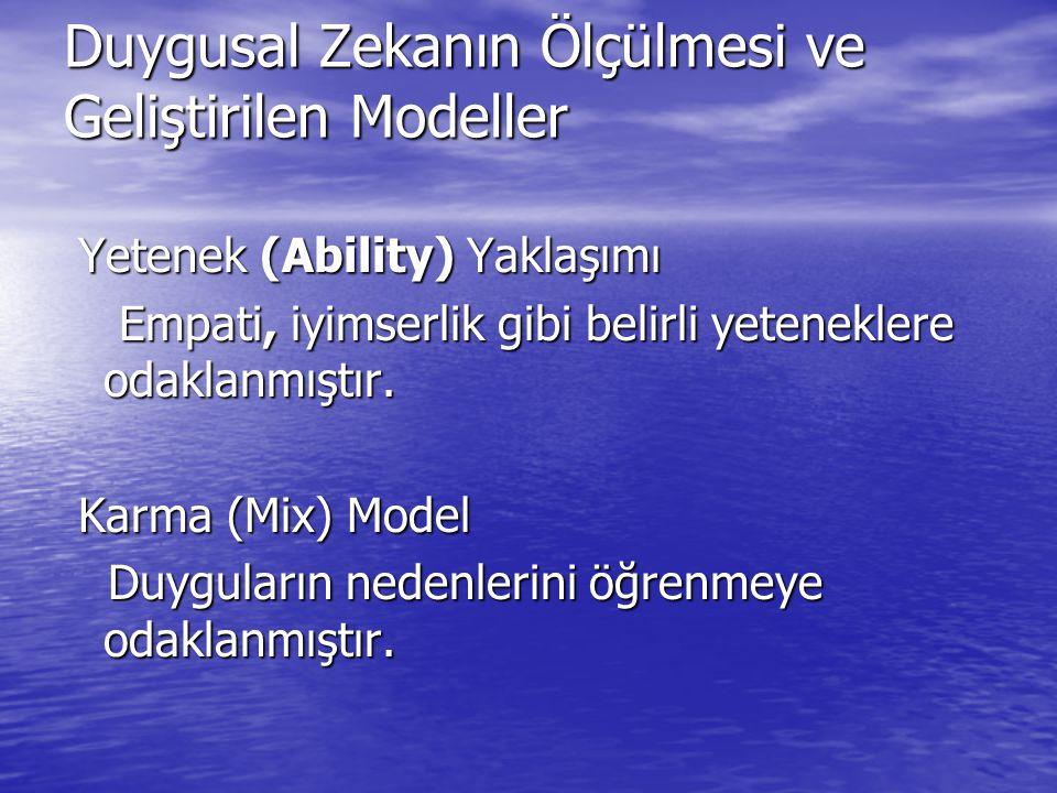 Duygusal Zekanın Ölçülmesi ve Geliştirilen Modeller
