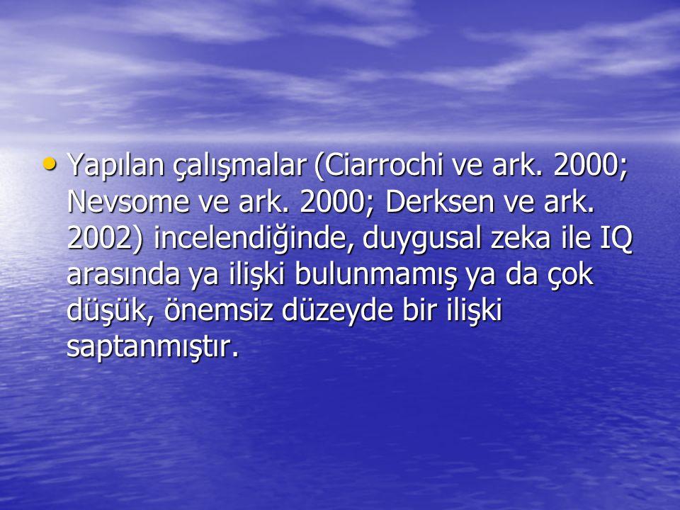 Yapılan çalışmalar (Ciarrochi ve ark. 2000; Nevsome ve ark