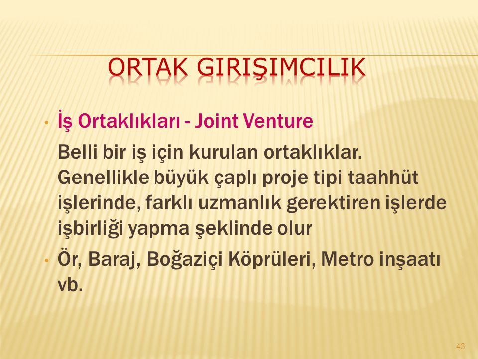 Ortak Girişimcilik İş Ortaklıkları - Joint Venture