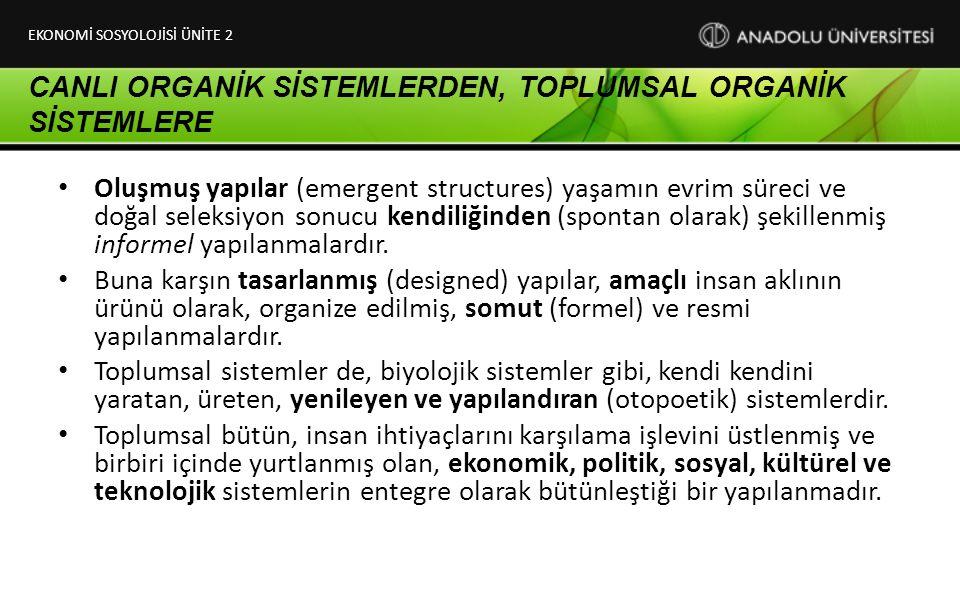 CANLI ORGANİK SİSTEMLERDEN, TOPLUMSAL ORGANİK SİSTEMLERE