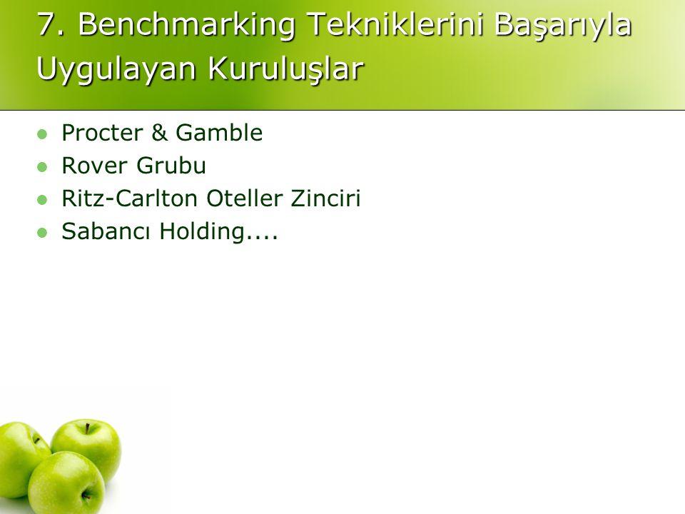 7. Benchmarking Tekniklerini Başarıyla Uygulayan Kuruluşlar