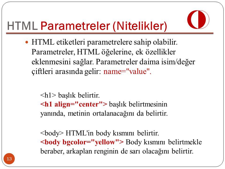 HTML Parametreler (Nitelikler)