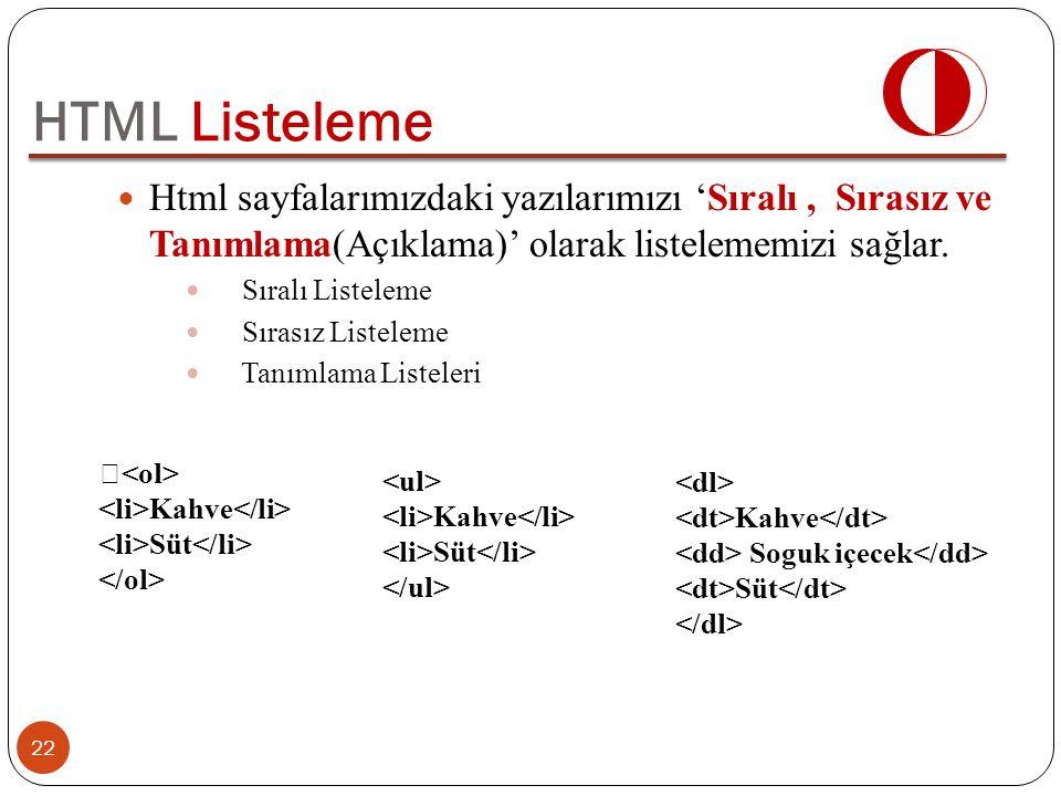 HTML Listeleme Html sayfalarımızdaki yazılarımızı 'Sıralı , Sırasız ve Tanımlama(Açıklama)' olarak listelememizi sağlar.