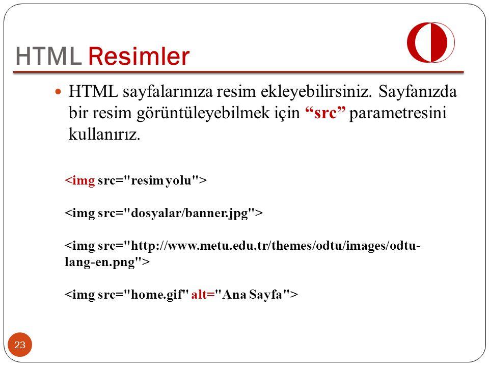 HTML Resimler HTML sayfalarınıza resim ekleyebilirsiniz. Sayfanızda bir resim görüntüleyebilmek için src parametresini kullanırız.