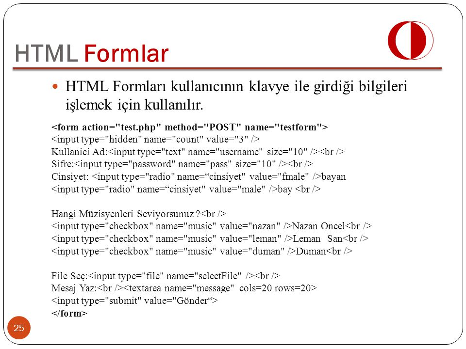 HTML Formlar HTML Formları kullanıcının klavye ile girdiği bilgileri işlemek için kullanılır.