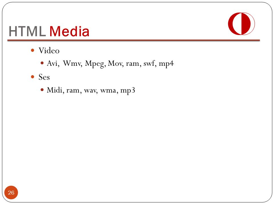 HTML Media Video Ses Avi, Wmv, Mpeg, Mov, ram, swf, mp4