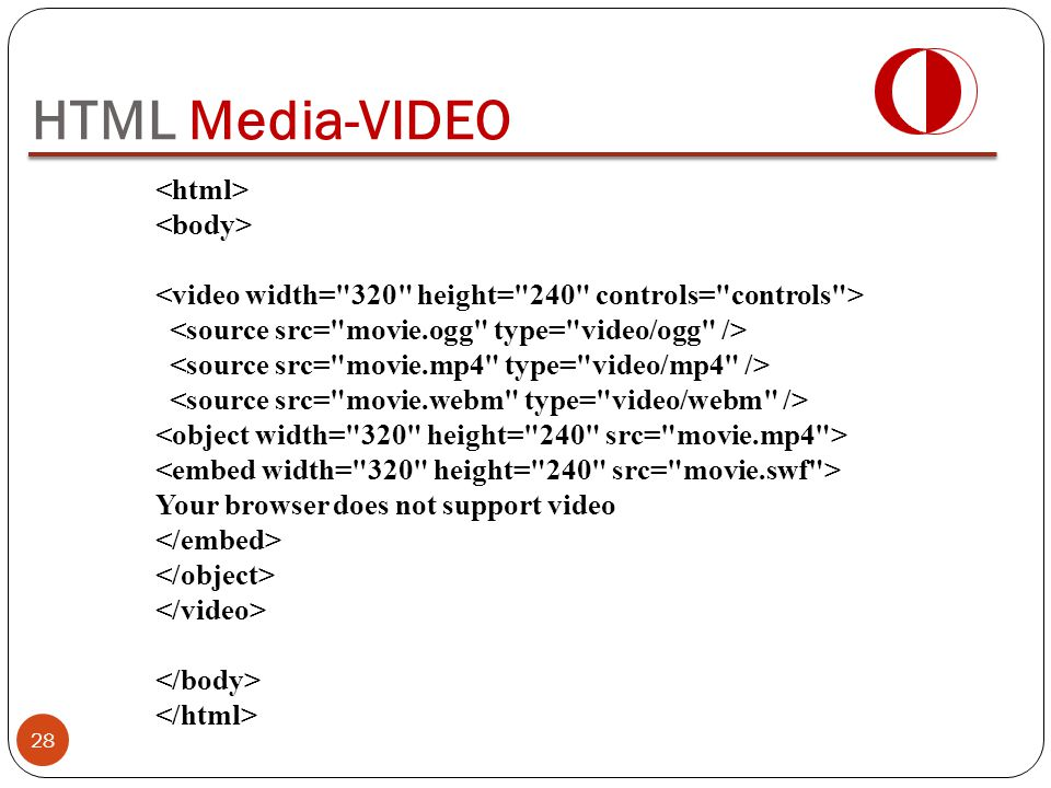 HTML Media-VIDEO <html> <body>