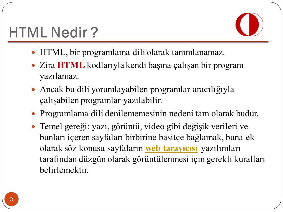 HTML Nedir HTML, bir programlama dili olarak tanımlanamaz.