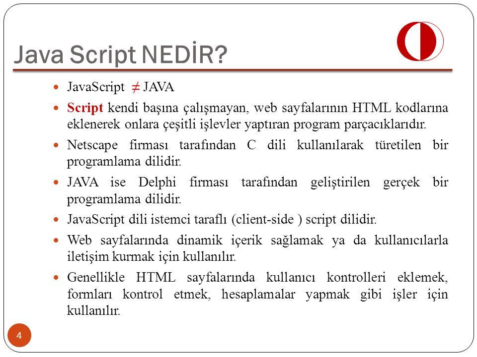 Java Script NEDİR JavaScript ≠ JAVA