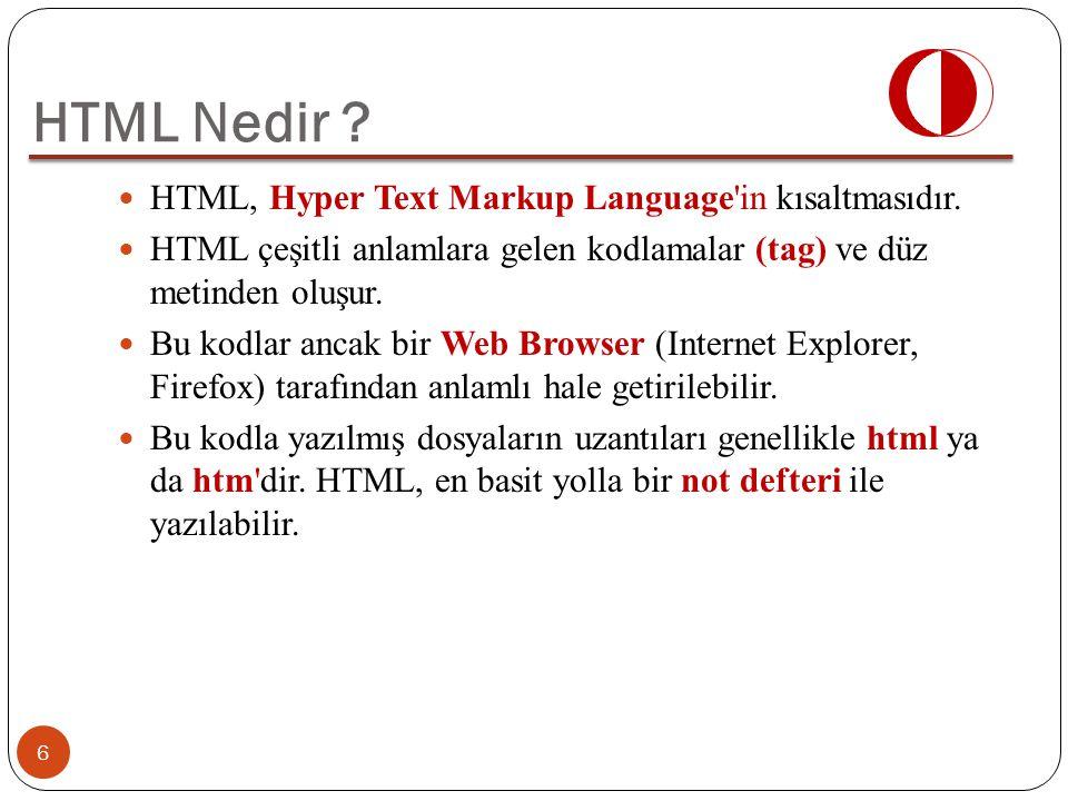 HTML Nedir HTML, Hyper Text Markup Language in kısaltmasıdır.