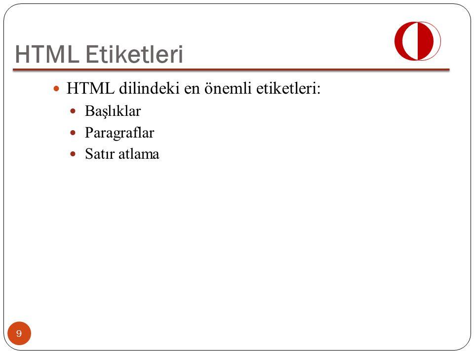 HTML Etiketleri HTML dilindeki en önemli etiketleri: Başlıklar