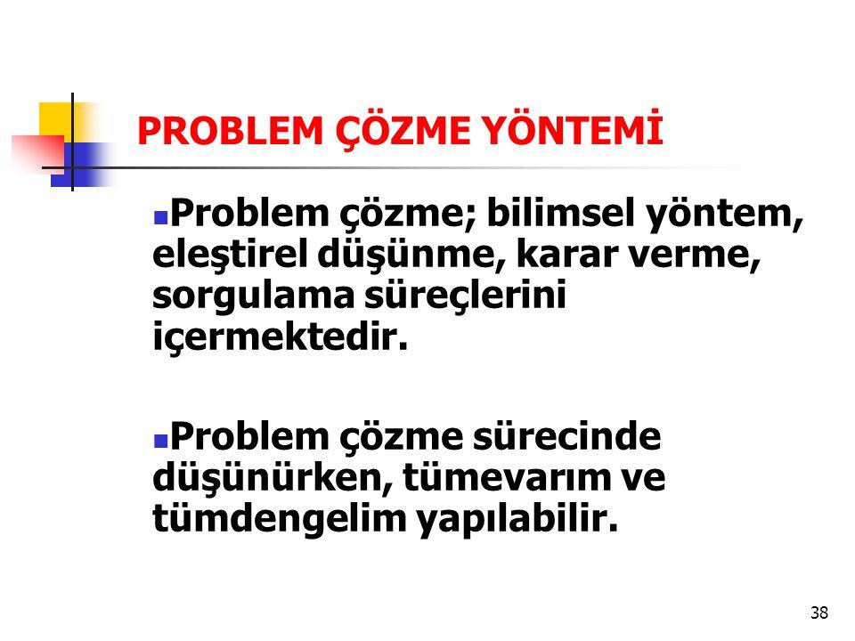 PROBLEM ÇÖZME YÖNTEMİ Problem çözme; bilimsel yöntem, eleştirel düşünme, karar verme, sorgulama süreçlerini içermektedir.