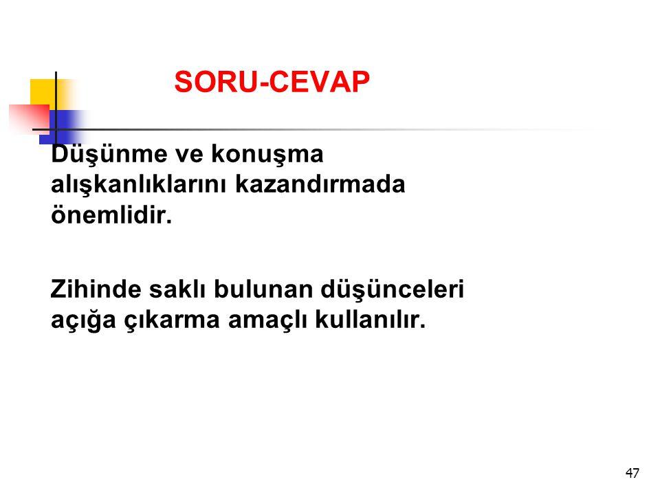 SORU-CEVAP Düşünme ve konuşma alışkanlıklarını kazandırmada önemlidir.