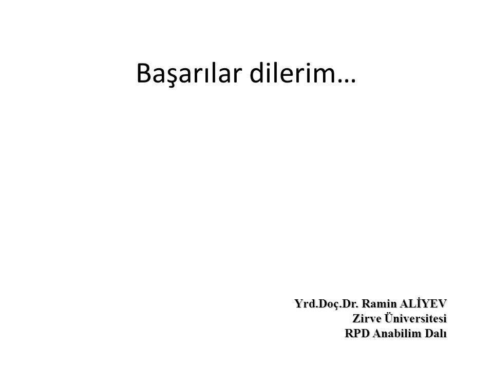 Başarılar dilerim… Yrd.Doç.Dr. Ramin ALİYEV Zirve Üniversitesi