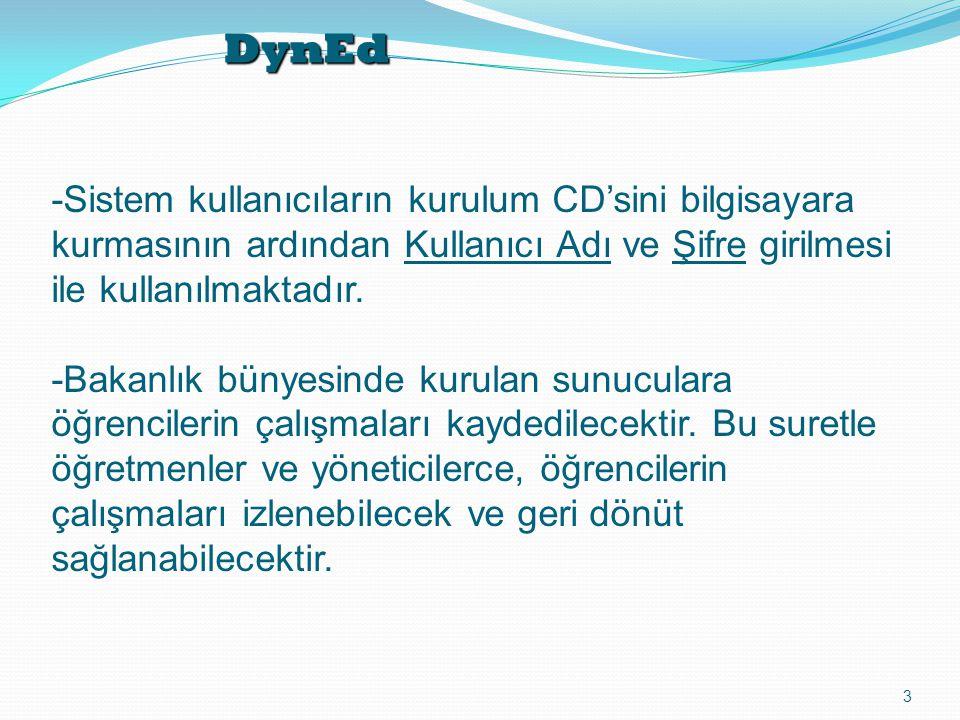 DynEd -Sistem kullanıcıların kurulum CD'sini bilgisayara kurmasının ardından Kullanıcı Adı ve Şifre girilmesi ile kullanılmaktadır.