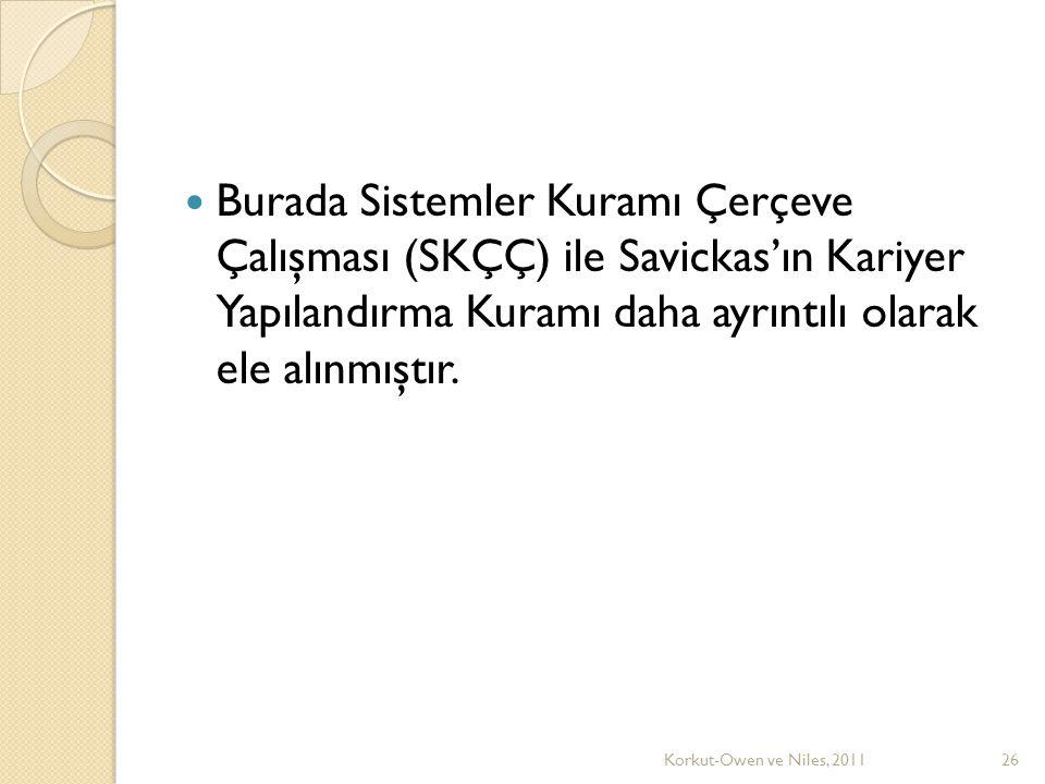 Burada Sistemler Kuramı Çerçeve Çalışması (SKÇÇ) ile Savickas'ın Kariyer Yapılandırma Kuramı daha ayrıntılı olarak ele alınmıştır.
