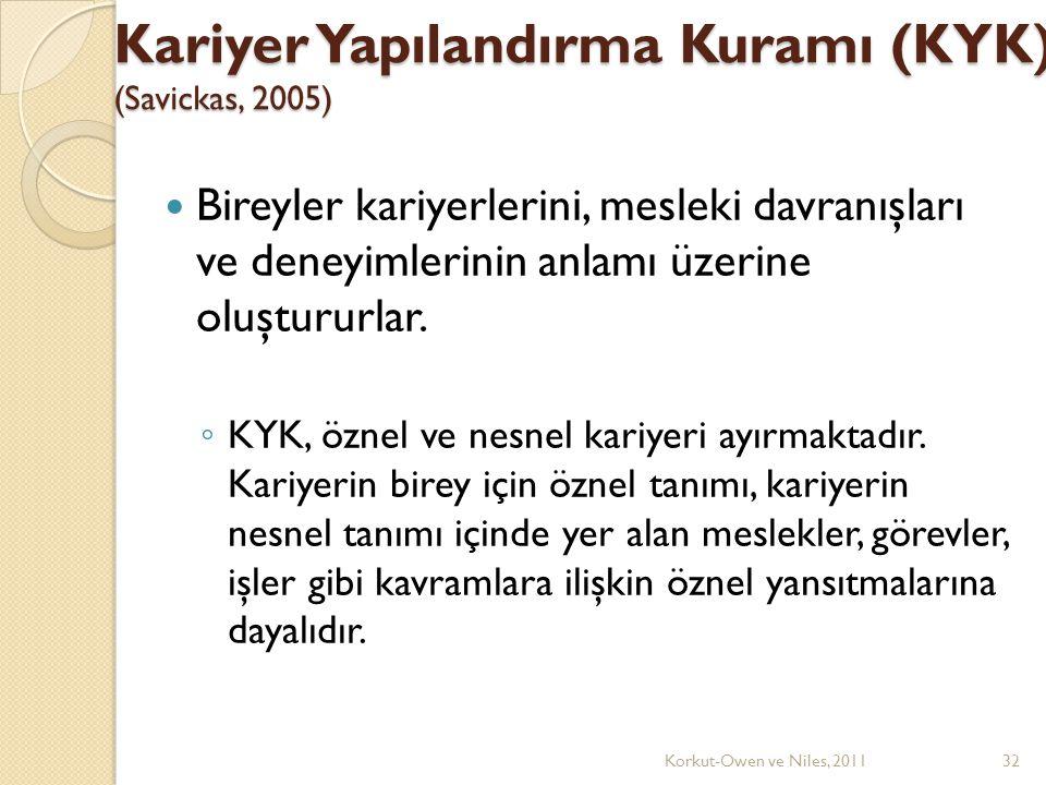Kariyer Yapılandırma Kuramı (KYK) (Savickas, 2005)