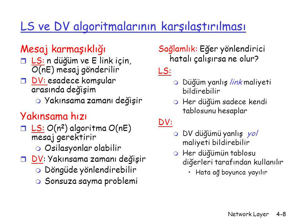 LS ve DV algoritmalarının karşılaştırılması