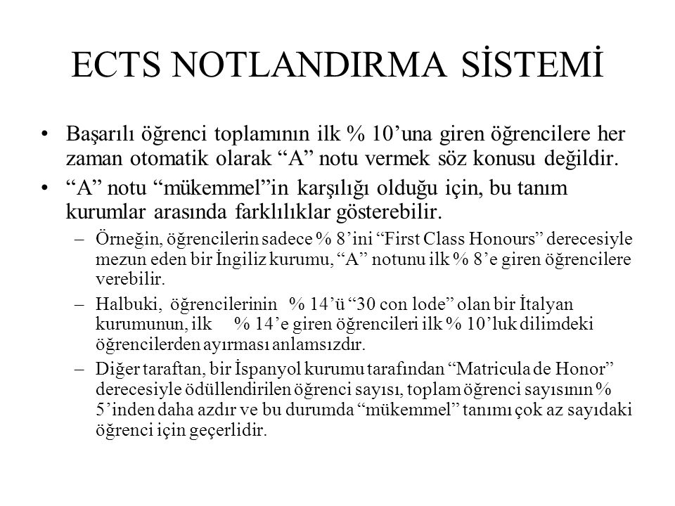 ECTS NOTLANDIRMA SİSTEMİ