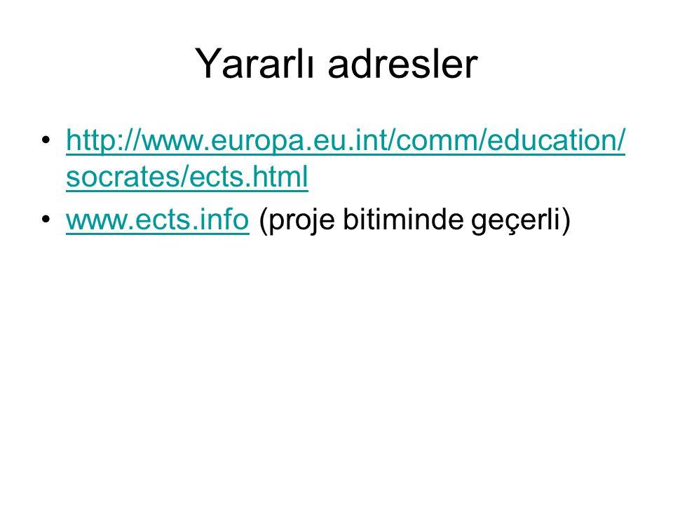Yararlı adresler http://www.europa.eu.int/comm/education/socrates/ects.html.