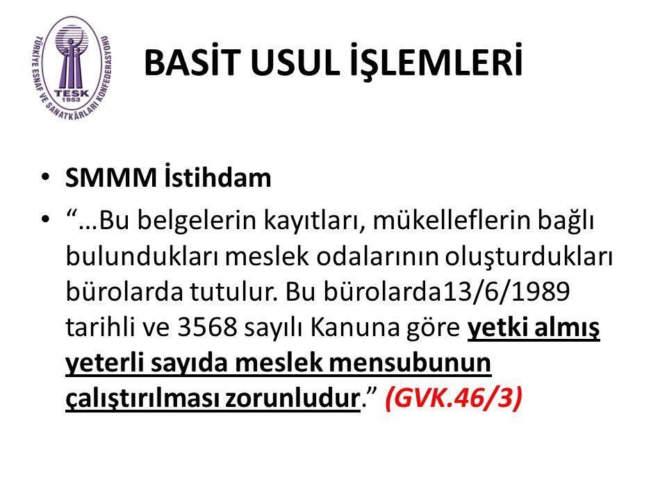BASİT USUL İŞLEMLERİ SMMM İstihdam