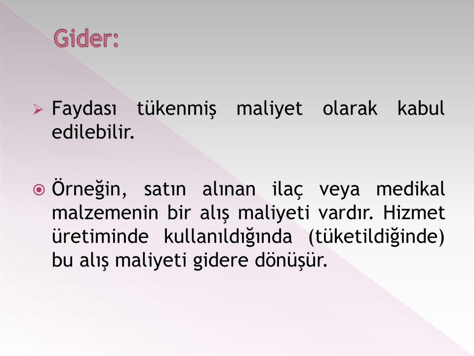 Gider: Faydası tükenmiş maliyet olarak kabul edilebilir.