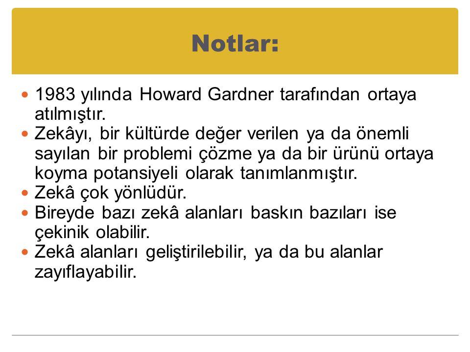 Notlar: 1983 yılında Howard Gardner tarafından ortaya atılmıştır.