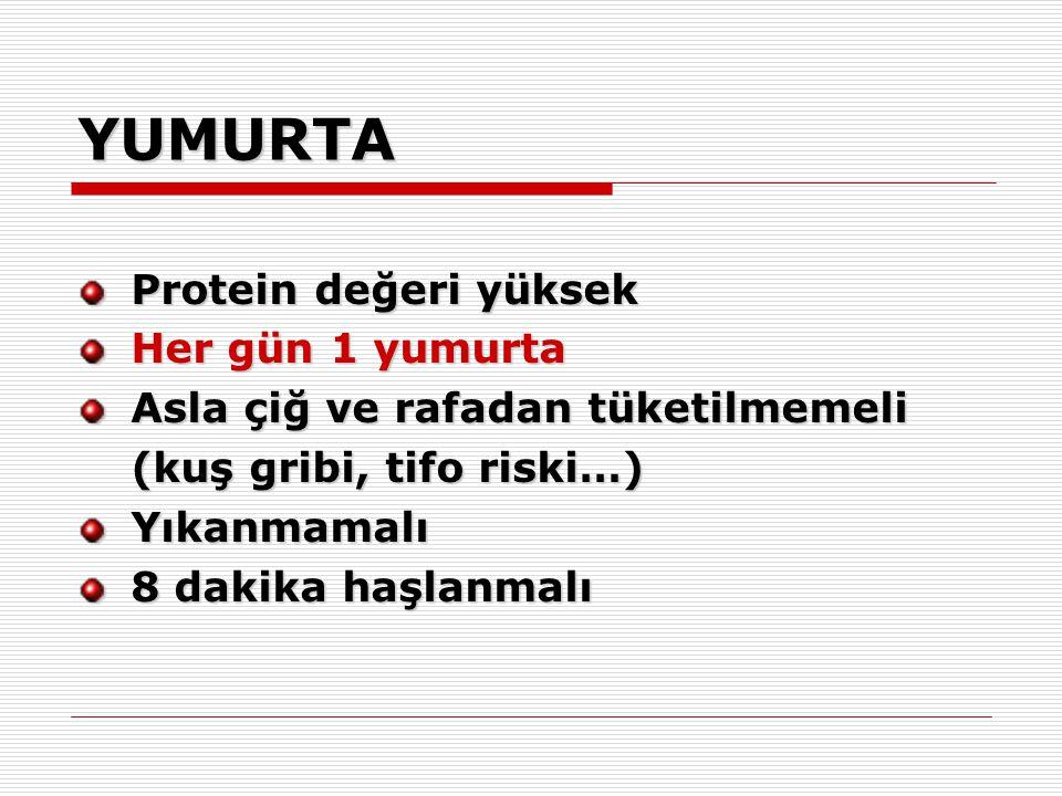 YUMURTA Protein değeri yüksek Her gün 1 yumurta