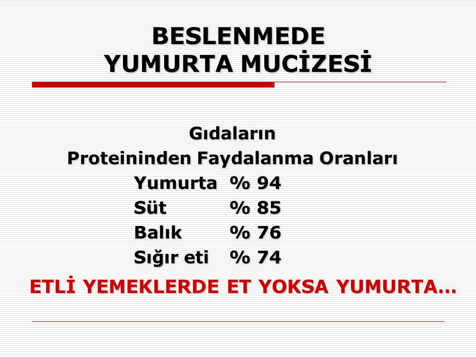 BESLENMEDE YUMURTA MUCİZESİ