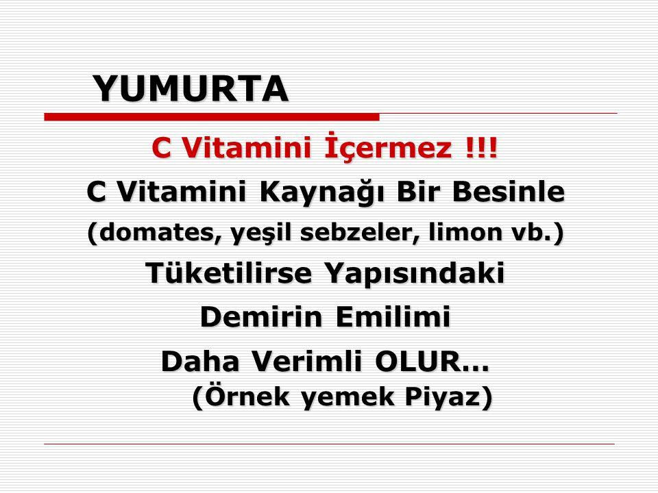 YUMURTA C Vitamini İçermez !!! C Vitamini Kaynağı Bir Besinle