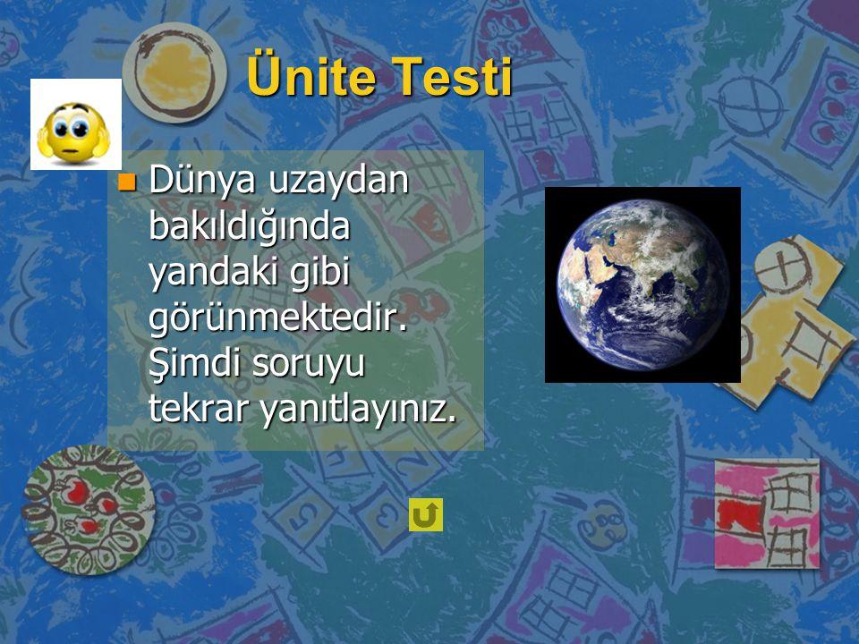 Ünite Testi Dünya uzaydan bakıldığında yandaki gibi görünmektedir.