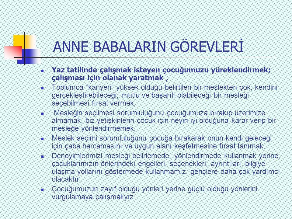ANNE BABALARIN GÖREVLERİ