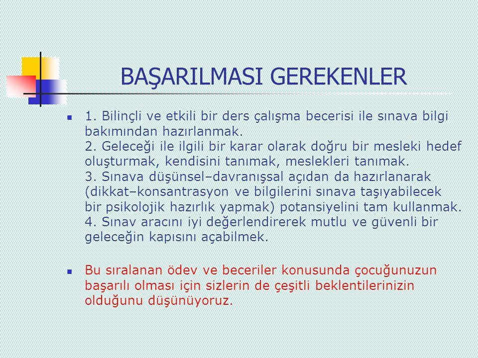 BAŞARILMASI GEREKENLER