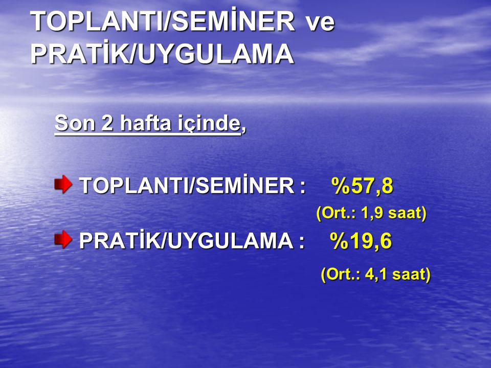 TOPLANTI/SEMİNER ve PRATİK/UYGULAMA