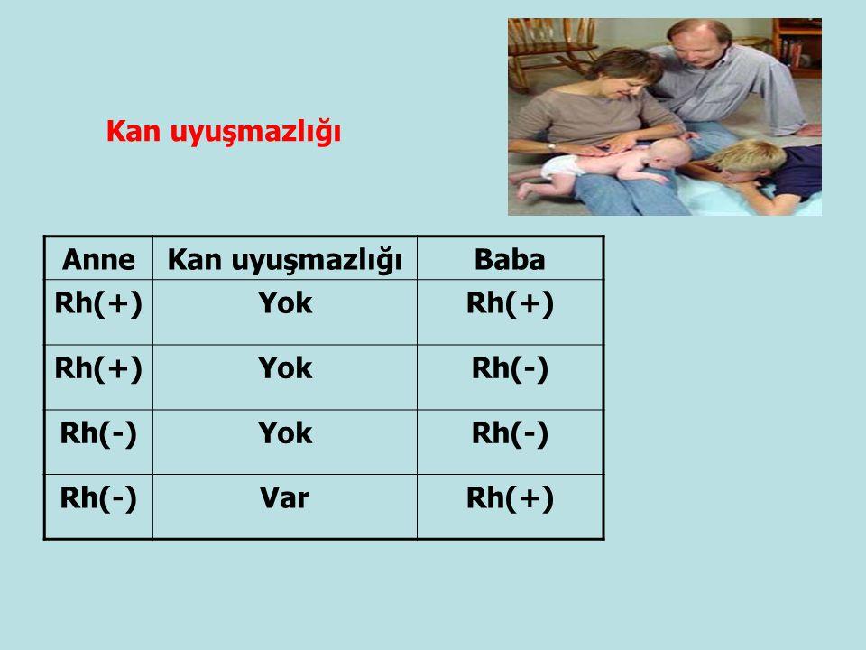 Kan uyuşmazlığı Anne Kan uyuşmazlığı Baba Rh(+) Yok Rh(-) Var